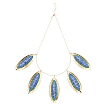Evil Eye Statement Halskette, blau, vergoldet - Swarovski, 5477554