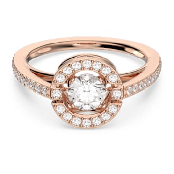 Anel Swarovski Sparkling Dance Round, branco, banhado a rosa dourado - Swarovski, 5479934