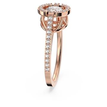 Pierścionek z okrągłym kamieniem z kolekcji Swarovski Sparkling Dance, biały, w odcieniu różowego złota - Swarovski, 5479934