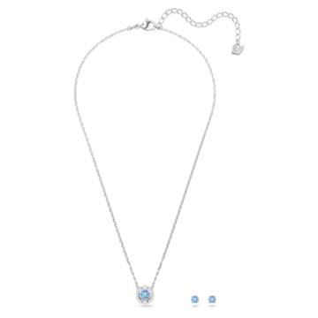 Swarovski Sparkling Dance Round 套装, 蓝色, 镀铑 - Swarovski, 5480485
