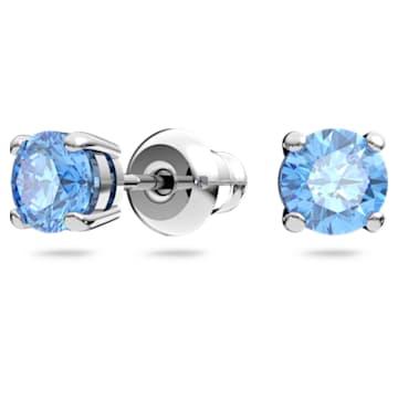 Swarovski Sparkling Dance Round Set, Blue, Rhodium plated - Swarovski, 5480485