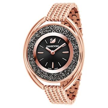Crystalline Oval Uhr, Metallarmband, Schwarz, Roségold-Legierungsschichtes PVD-Finish - Swarovski, 5480507