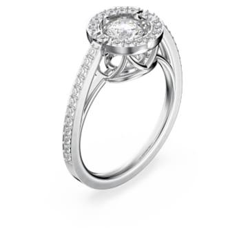 Swarovski Sparkling Dance Round Ring, White, Rhodium plated - Swarovski, 5482500