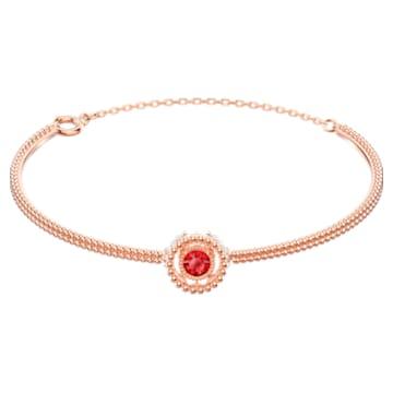 Brățară fixă Oxygen, Roșu, Placat cu nuanță roz-aurie - Swarovski, 5482675