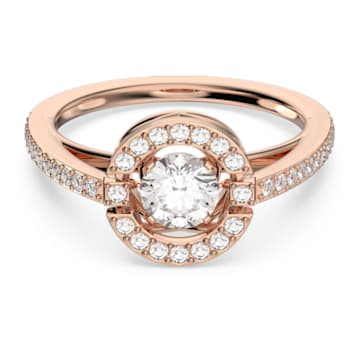 Swarovski Sparkling Dance ring, Round, White, Rose gold-tone plated - Swarovski, 5482703