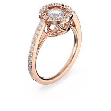 Swarovski Sparkling Dance Round Ring, White, Rose-gold tone plated - Swarovski, 5482705