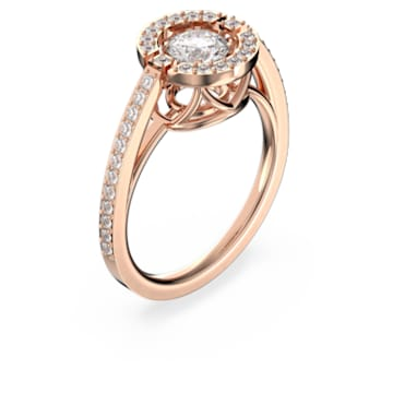 Anel Swarovski Sparkling Dance Round, branco, banhado a rosa dourado - Swarovski, 5482711