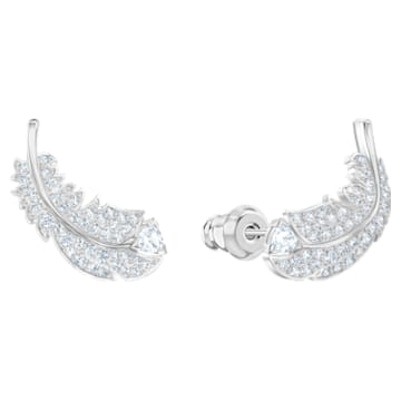 Nice Stud Pierced Earrings, White, Rhodium plated - Swarovski, 5482912
