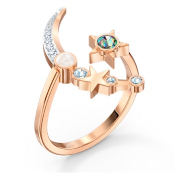 Starry Night Moon Ring, Light multi-colored, Rose-gold tone plated - Swarovski, 5483534