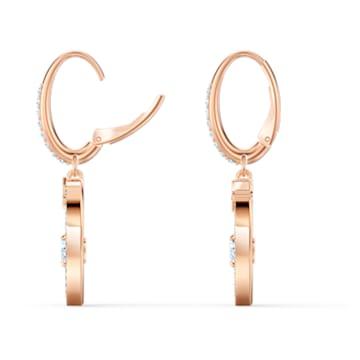 Starry Night Heart Pierced Earrings, Blue, Rose-gold tone plated - Swarovski, 5484016