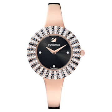 Montre Crystal Rose, Bracelet en métal, noir, PVD doré rose - Swarovski, 5484050