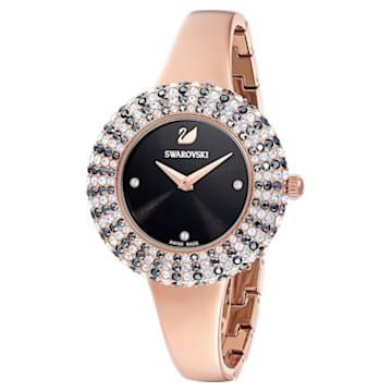 Ceas Crystal Rose, brățară de metal, negru, nuanță aur roz aplicată prin depunere fizică de vapori - Swarovski, 5484050