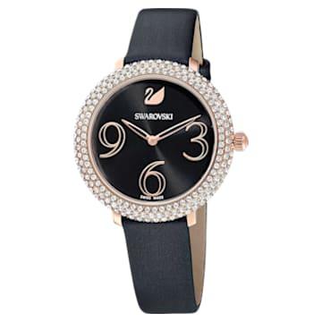 Crystal Frost Watch, Leather strap, Black, Rose-gold tone PVD - Swarovski, 5484058