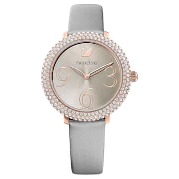 Montre Crystal Frost, Bracelet en cuir, gris, PVD doré rose - Swarovski, 5484067