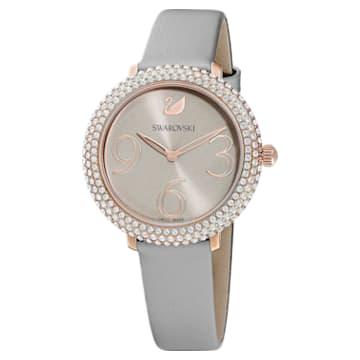 Crystal Frost 手錶, 真皮錶帶, 灰色, 玫瑰金色調PVD - Swarovski, 5484067