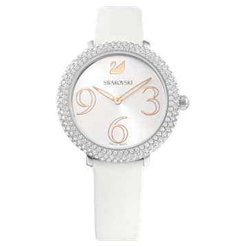 Crystal Frost Watch, Leather Strap, White, Stainless Steel - Swarovski, 5484070