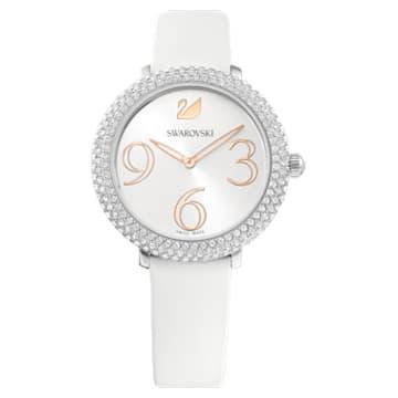 Orologio Crystal Frost, Cinturino in pelle, bianco, acciaio inossidabile - Swarovski, 5484070