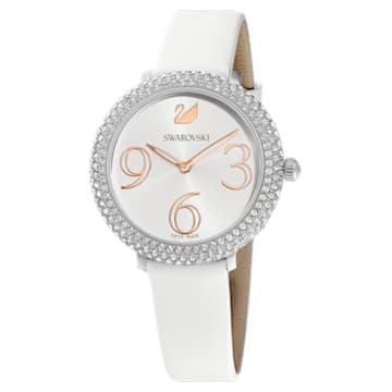 Montre Crystal Frost, Bracelet en cuir, blanc, acier inoxydable - Swarovski, 5484070
