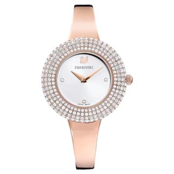 Ceas Crystal Rose, brățară de metal, alb, nuanță aur roz aplicată prin depunere fizică de vapori - Swarovski, 5484073