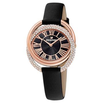 Duo Uhr, Lederarmband, schwarz, Rosé vergoldetes PVD-Finish - Swarovski, 5484373