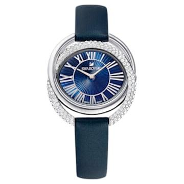Montre Duo, Bracelet en cuir, bleu, acier inoxydable - Swarovski, 5484376