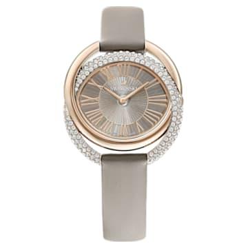 Duo 手錶, 真皮錶帶, 灰色, 香檳金色色調PVD - Swarovski, 5484382