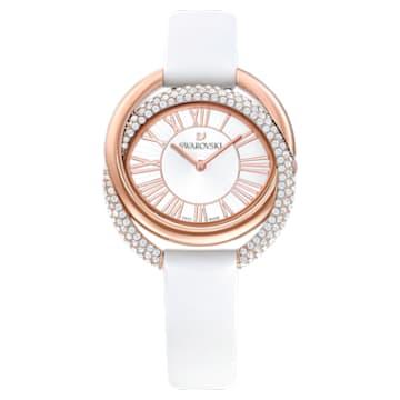 Montre Duo, Bracelet en cuir, blanc, PVD doré rose - Swarovski, 5484385