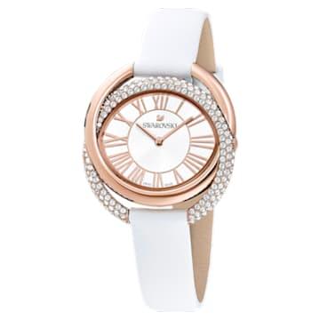 Duo 手錶, 真皮錶帶, 白色, 玫瑰金色調PVD - Swarovski, 5484385
