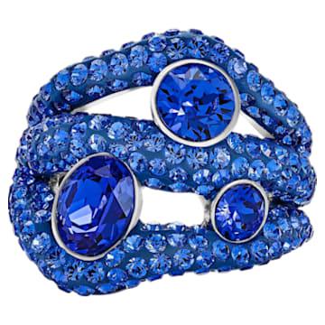 Tigris Cocktail Ring, Blue, Palladium plated - Swarovski, 5484499