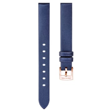Cinturino per orologio 14mm, seta, blu, placcato color oro rosa - Swarovski, 5484607