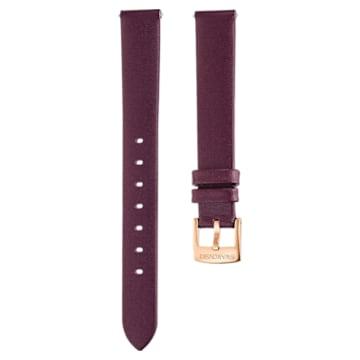 14mm Watch strap, Leather, Dark red, Rose-gold tone plated - Swarovski, 5484611