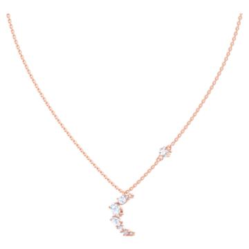 Moonsun Necklace, White, Rose-gold tone plated - Swarovski, 5486357