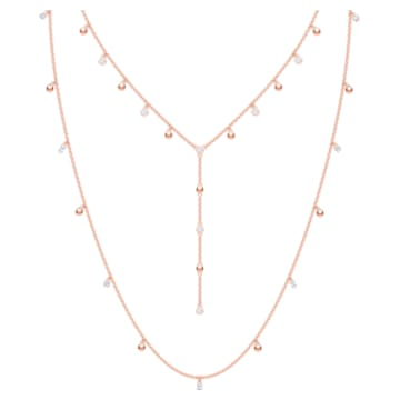 Moonsun Necklace, Long, White, Rose-gold tone plated - Swarovski, 5486650