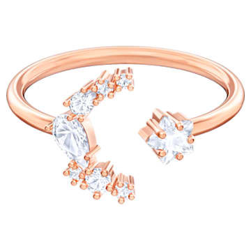 Moonsun Open Ring, White, Rose-gold tone plated - Swarovski, 5486817
