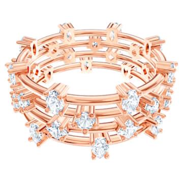 Moonsun Ring Set, White, Rose-gold tone plated - Swarovski, 5486818
