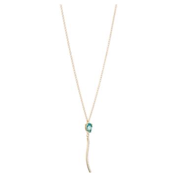 Arc-en-ciel necklace, Caribbean Blue Treated Swarovski Genuine Topaz, 18K Yellow Gold - Swarovski, 5487229
