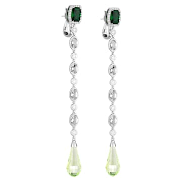 Rainforest Green Earrings, Swarovski Created Diamonds & Green Laboratory Created Spinel, 18K White Gold - Swarovski, 5487282