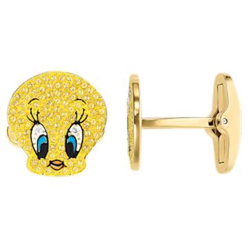 Looney Tunes Tweety 袖扣, 黃色, 鍍金色色調 - Swarovski, 5488598