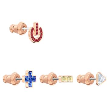 Cercei cu șurub Play, Multicoloră, Placat cu nuanță roz-aurie - Swarovski, 5489442