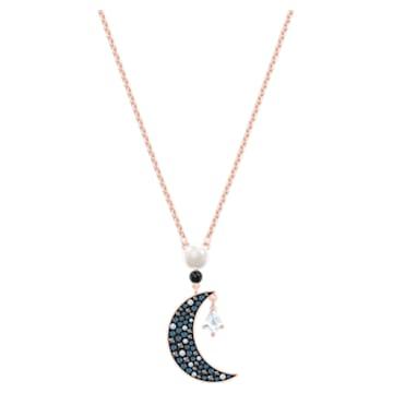 Swarovski Symbolic pendant, Graduated crystals, Moon and star, Multicolored, Rose-gold tone plated - Swarovski, 5489534