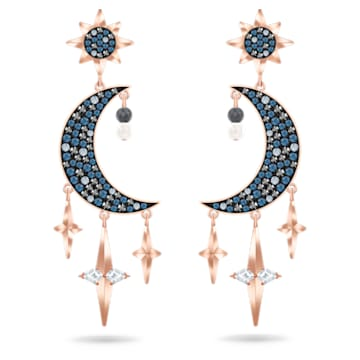 Swarovski Symbolic earrings, Graduated crystals, Moon and star, Multicolored, Rose-gold tone plated - Swarovski, 5489536