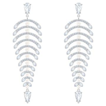 Polar Bestiary Chandelier穿孔耳環, 白色, 鍍銠 - Swarovski, 5489887