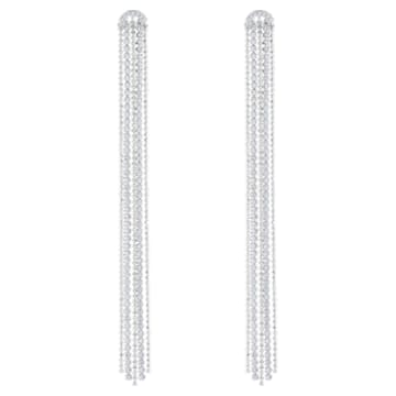 Fit bedugós láncos fülbevaló, fehér, ródium bevonattal - Swarovski, 5490190