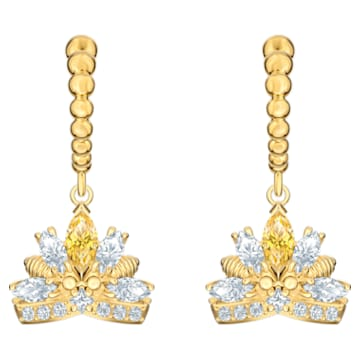 Bee A Queen Drop Pierced Earrings, Yellow, Gold-tone plated - Swarovski, 5490439