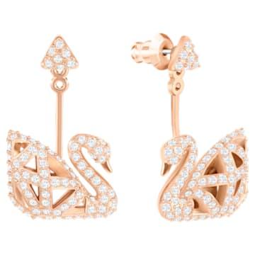 Facet Swan Pierced Earrings, White, Rose-gold tone plated - Swarovski, 5492233