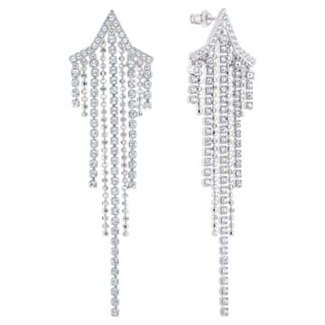 Fit Star Pierced Tassell Earrings, White, Rhodium plated - Swarovski, 5492758