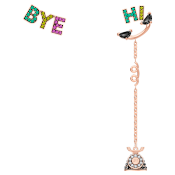 Play pierced earrings, Asymmetrical, Multicoloured, Rose-gold tone plated - Swarovski, 5492810