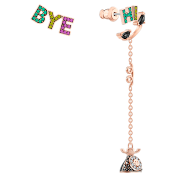 Play 穿孔耳環, 非對稱, 漸層色, 鍍玫瑰金色調 - Swarovski, 5492810