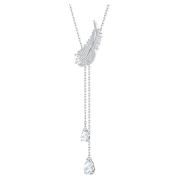 Nice Y-alakú nyaklánc, fehér, ródium bevonattal - Swarovski, 5493397