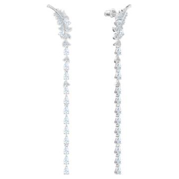 Nice Pierced Earrings, White, Rhodium plated - Swarovski, 5493406